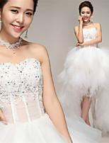 שמלות כלה  - גזרת A אסימטרי - מחשוף לב - טול