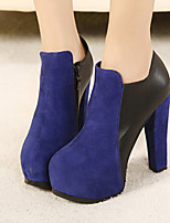Women's Shoes Faux Leather Chunky Heel Fashion Boots/Round Toe/Closed Toe Boots Casual Black/Blue