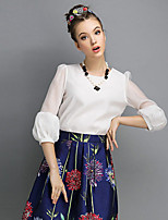 Women's Casual Micro-elastic ¾ Sleeve Short T-shirt (Organza) With Necklace