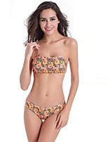 Women's Polyester Sexy Push-up/Wireless Print One-Shoulder Strape Bikinis