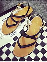 Zapatos de mujer Cuero Sintético Tacón Plano Bailarina Sandalias Casual Negro/Blanco