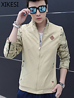 Men's Casual/Work Pure Long Sleeve Regular Jacket (Cotton/Cotton Blend) XKS7F03