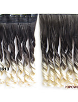 140g 24'' 60cm Ombre Rainbow Wavy Curl Clip in Hair Extensions Women Synthetic Clip In Hairpiece