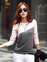 Women's Casual Inelastic Long Sleeve Regular T-shirt (Cotton Blends)