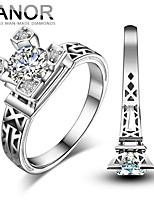 YANOR Eiffel Tower 0.5 Carat 925 Sliver White Gold Plated  SONA Diamond Ring For Women Wedding