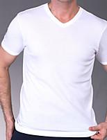 Men's Casual Pure Short Sleeve Regular T-Shirt (Cotton)