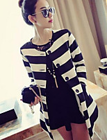 Women's Spring Casual All Match Long Sleeve Stripe  Coat