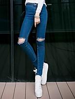 Woman Knee Hole Skinny Pencil Pants High Waist Jeans Slim Denim Ripped Boyfriend  Elastic Black Ripped Jeans
