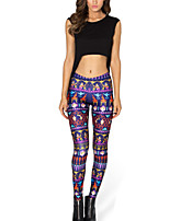 Women's Skinny Colorful Retro Pattern Print Polyester Elastic Legging