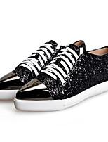 Zapatos de mujer - Tacón Plano - Comfort / Puntiagudos - Sneakers a la Moda - Exterior / Casual / Deporte - Cuero - Negro / Blanco