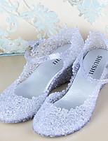 Chaussures Femme Synthétique Talon Compensé Compensées/Bout Arrondi Sandales Décontracté Rose/Argent