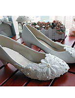 Women's Shoes Leather Low Heel Heels/Round Toe Pumps/Heels Wedding/Party & Evening White