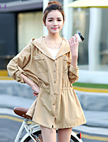 依非拉朵 Women's Vintage/Beach/Casual/Cute/Party/Work Thin Long Sleeve Long Trench Coat (Cotton Blends)
