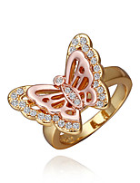 Sweet Butterfly Shape  Environmental Protection Material Metal Ring (Gold Palting,Rose Gold Plating)(1Pc)