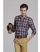 Camisa De los hombres Casual Cuadros Escoceses - Algodón - Manga Larga