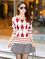 Women's Casual/Print Stretchy Medium Long Sleeve Pullover (Knitwear)SF7C34