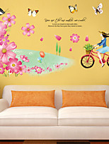 Wall Stickers Wall Decals Style Butterfly And Riding A Bicycle Girl PVC Wall Stickers