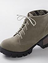Women's Shoes Fleece Chunky Heel Fashion Boots/Round Toe Boots Dress/Casual Black/Yellow/Beige