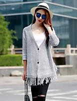 Women's Solid Black/Gray Cardigan , Casual Long Sleeve