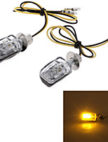 Yellow 6 LED Motorcycle Turn Signal Indicator Light Lamp Black Shell (2 Pcs)