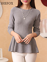 Women's Casual Stretchy Medium Long Sleeve Pullover (Knitwear)SF7C33