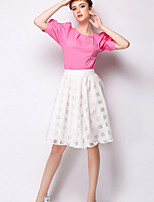 Women's Solid Pink/White Skirts , Casual Knee-length