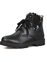 Women's Shoes Lace Chunky Heel Fashion Boots/Round Toe Boots Dress/Casual Black/Pink/White