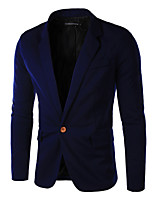 JOGAL Men's Casual/Work/Formal Pure Long Sleeve Regular Blazer (Cotton/Cotton Blend)