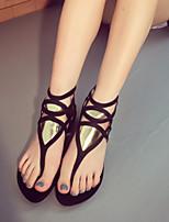 Chaussures Femme - Décontracté - Noir - Talon Plat - Bout Arrondi - Sandales - Synthétique
