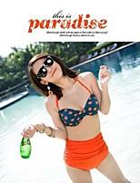 Women's Polyester Polka Dot Sexy Bikinis Swimwear with Pad
