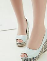 Women's Shoes Wedge Heel Wedges/Peep Toe Sandals Office & Career/Dress Blue/White