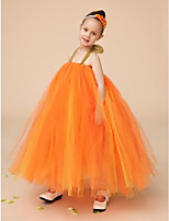 Flower Girl šaty - Tyl Bez rukávů - Plesové šaty Na podlahu