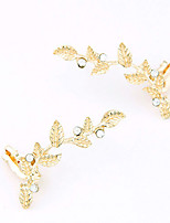 Women's European Style Fashion Leaves Alloy Rhinestone Stud Earrings