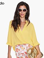 Women's Red/White/Black/Yellow/Purple Blouse , V Neck Long Sleeve