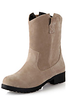 Women's Shoes Fall / Winter Fashion Boots / Round Toe Boots Dress Chunky Heel Others Black / Red / Beige
