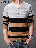 Men's Casual/Work Striped Long Sleeve Regular Pullover (Cotton/Knitwear) XKS7D09