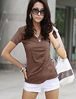 Women's Solid White/Black/Brown T-shirt , V Neck Short Sleeve Criss-Cross