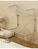 Brass Multi-functional Double Layer Basket Holder Shelf Bathroom Accessories