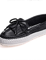 Women's Shoes Leather Flat Heel Round Toe Loafers Casual Black/White