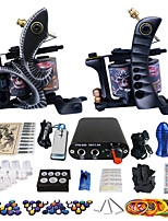 Solong Tattoo Beginner Tattoo Kit 2 Pro Machine Guns Power Supply Needle Grips Tips