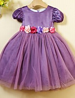 Girl's Chiffon/Cotton/Mesh Dress , Summer Short Sleeve