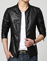 The 2015 men's leather in spring and autumn Metrosexual a thin jacket lapel locomotive Korean slim coat