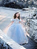 A-Lijn Thee lengte Bloemenmeisje jurk - Satijn/Tule Korte mouw