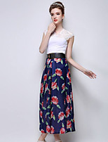 Women's Casual Micro-elastic Translucent Maxi Skirts (Polyester)