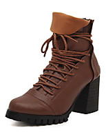 Women's Shoes Chunky Heel Combat Boots Boots Casual Black/Brown