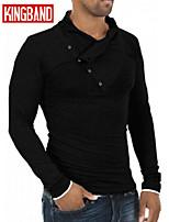 Men's Casual Pure Long Sleeve Regular T-Shirt (Cotton Blend) KB7B05