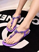 Women's Shoes Faux Leather Flat Heel Comfort Sandals Outdoor/Athletic Purple/White