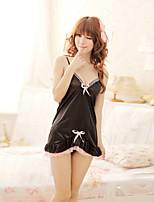 Women Lycra Lovely Bowknot Sexy Little Fantasies/Bridal Sleepwear/Sleepwear Gowns Black/Pink