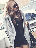 Women's Solid Black/Gray Cardigan , Casual Long Sleeve