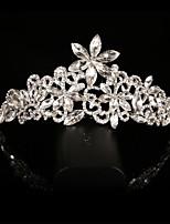 Bride's Flower Shape Crystal Rhinestone Forehead Wedding Comb Crown 1 PC